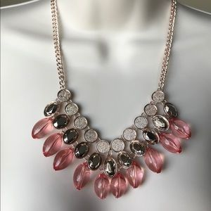 New York & Company Pink/Gold Beaded Necklace